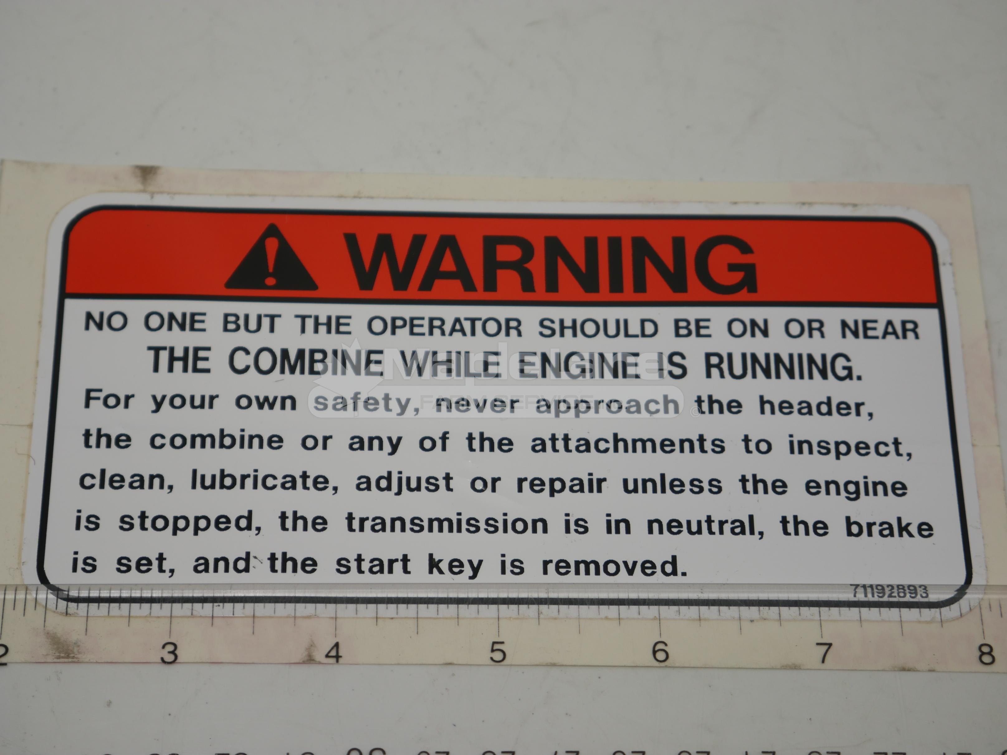 71192893 Warning Decal