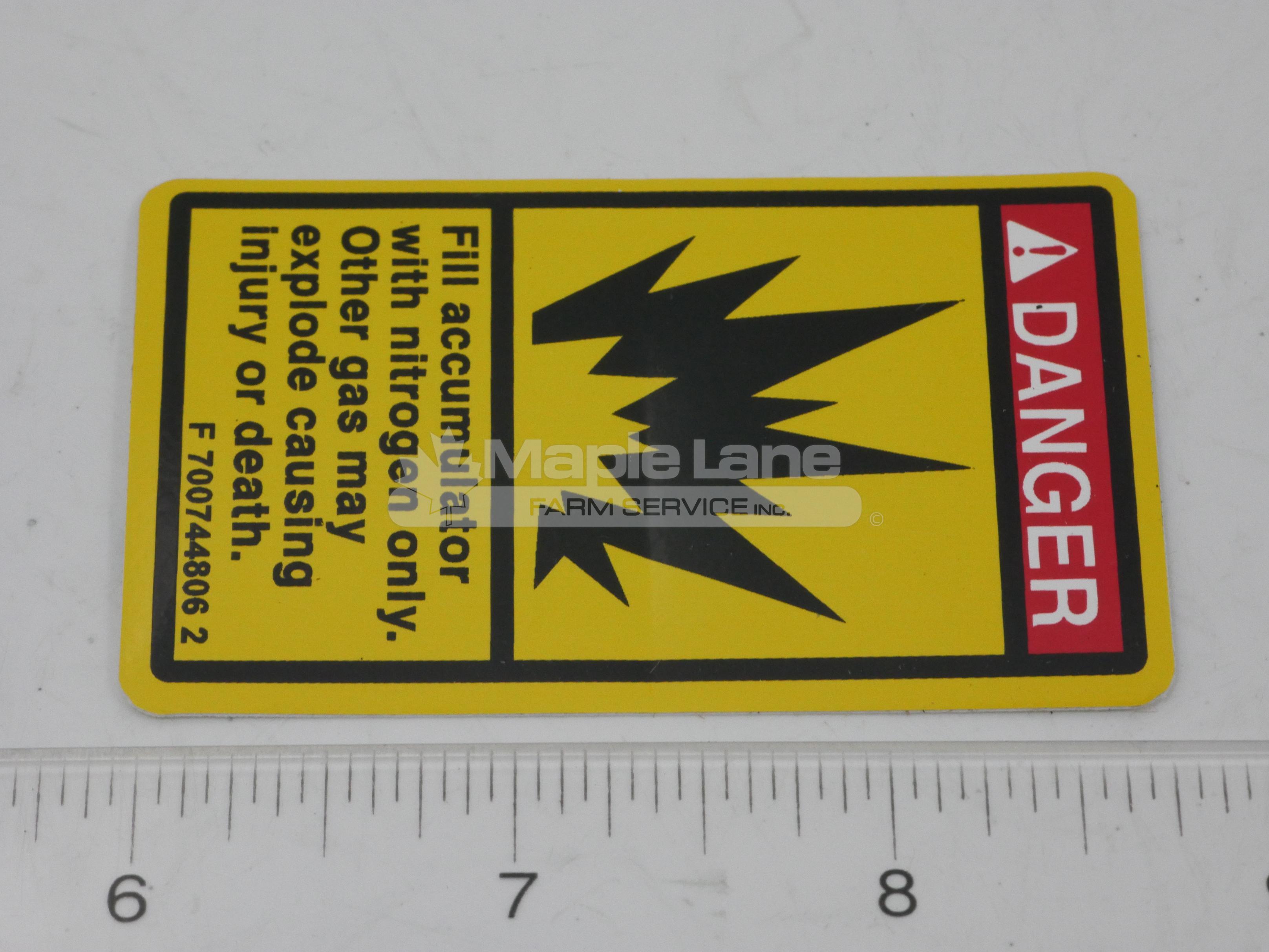 700744806 Warning Decal