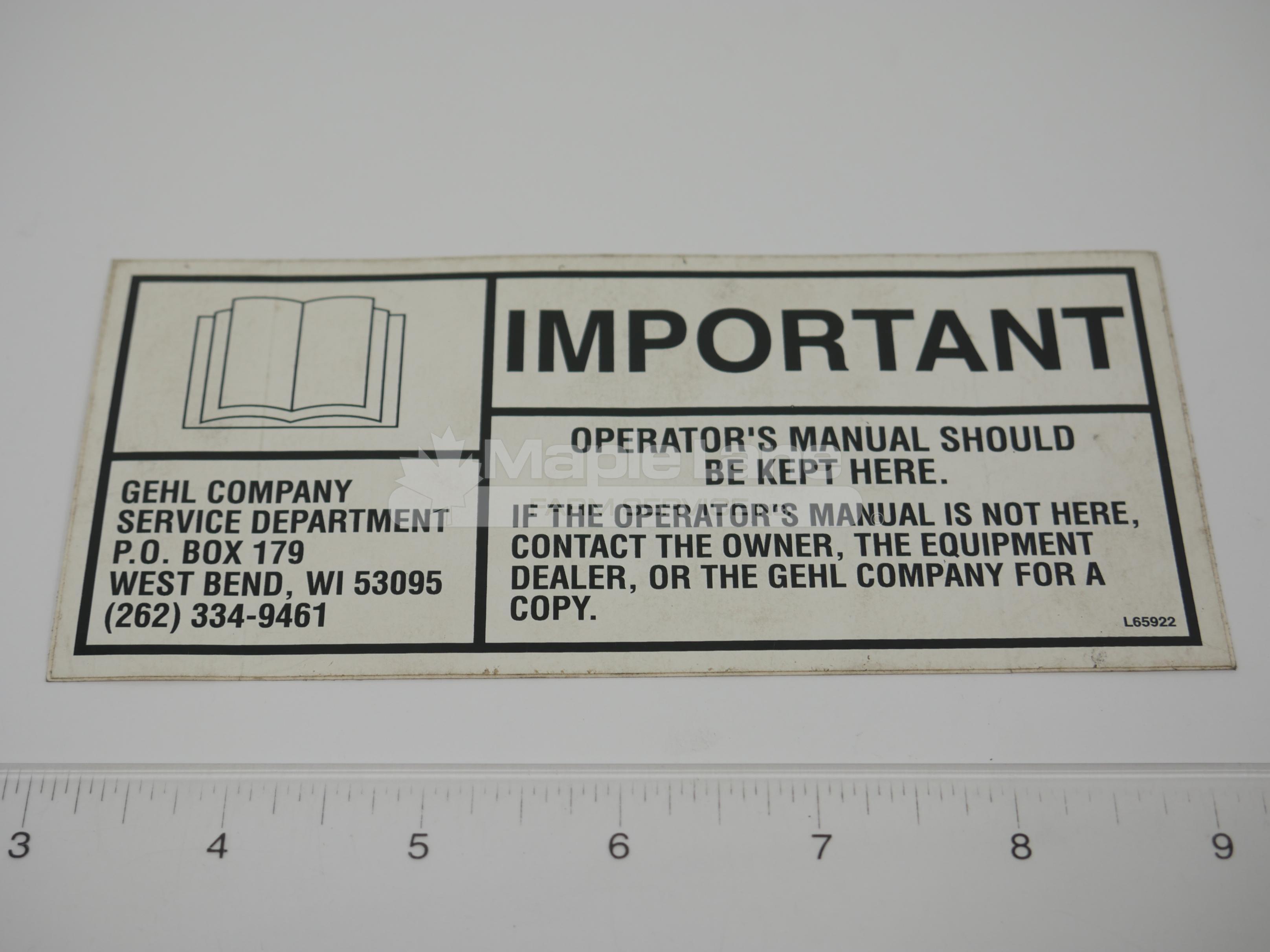 L65922 Operator Manual Decal